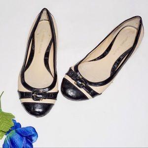 Antonio Melani Tan & Black Round Toe Flats, 7.5